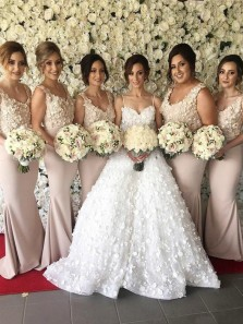Elegant V Neck Sleeveless Blush Elastic Satin Mermaid Long Bridesmaid Dresses with Appliques