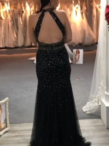 Exquisite Mermaid Halter Open Back Black Tulle Long Prom Evening Dresses with Beading,Formal Party Dresses
