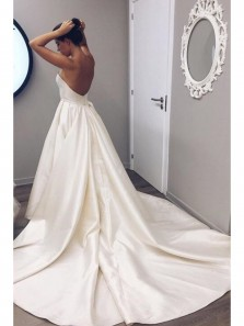Classic Strapless Ivory Long Bridal Gown,Sweetheart Court Train Wedding Dress