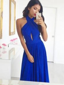 Charming A-Line Halter Open Back Royal Blue Chiffon Long Prom Dresses,Elegant Evening Party Dresses