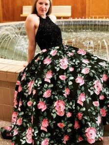 Gorgeous A-Line Halter Open Back Black Beaded Floral Printed Long Prom Dresses,Evening Party Dresses
