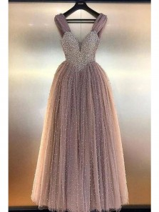 Luxurious A-Line V Neck Open Back Blush Tulle Long Prom Dresses with Beading,Formal Party Dresses