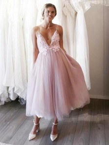 Elegant A-Line V Neck Spaghetti Straps Blush Pink Tulle Tea Length Wedding Guest Dresses,Short Bridesmaid Dresses