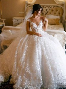 Princess Ball Gown V Neck Open Back White Lace Wedding Dresses