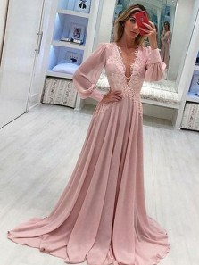 Fairy A-Line V Neck Long Sleeve Blush Pink Chiffon Long Prom Dresses with Appliques,Evening Party Dresses