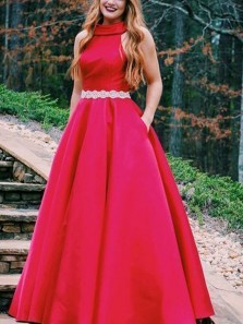 Gorgeous A-Line High Neck Open Back Red Satin Long Prom Dresses with Beaded,Evening Party Dresses