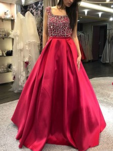 Elegant A-Line Square Neck Open Back Red Satin Long Prom Dresses with Beading,Formal Evening Party Dresses