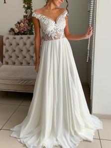 Gorgeous A-Line Off the Shoulder White Chiffon Lace Wedding Dresses,Elegant Beach Bride Dresses