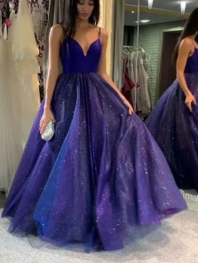 Sparkly A-Line Sweetheart Cross Back Regency Tulle Long Prom Dresses with Pockets,Formal Party Dresses