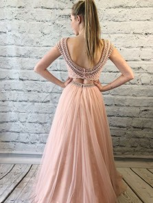 Gorgeous A-Line Two Piece Round Neck Open Back Peach Tulle Long Prom Dresses with Beading,Formal Evening Party Dresses