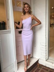 Stylish Sheath One Shoulder Lilac Elastic Satin Tea Length Prom Dresses,Wedding Guest Dresses,Evening Party Dresses