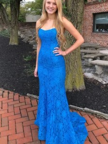 Mermaid Scoop Neck Cross Back Royal Blue Lace Prom Dresses with Train