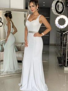 Charming Mermaid Sweetheart White Long Prom Evening Dresses with Beading