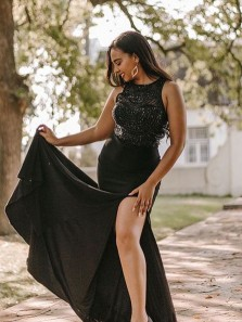 Sexy Mermaid Round Neck Black Beaded Prom Evening Dresses with High Slit,Formal Party Dresses