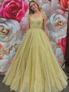 Exquisite A-Line V Neck Cross Back Champagne Tulle Long Formal Prom Dresses