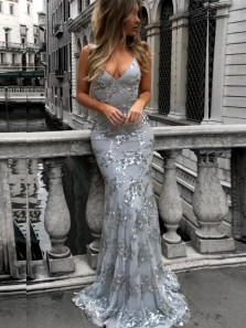 Sparkly Mermaid V Neck Cross Back Navy Blue Sequins Long Prom Dresses,Evening Party Dresses