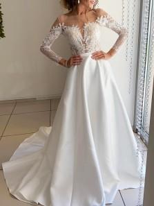 Elegant A-Line Scoop Neck Long Sleeve White Satin Lace Wedding Dresses,Simple Bride Dresses