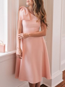 Simple A-Line One Shoulder Open Back Pink Satin Knee Length Homecoming Dresses,Short Prom Dresses with Bow