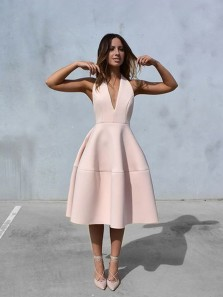Simple A-Line V Neck Backless Pearl Pink Satin Tea Length Prom Dresses