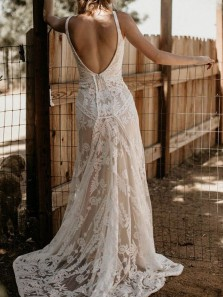 Elegant Mermaid V Neck Backless White Lace Wedding Dresses,Boho Wedding Gown