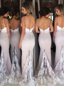 Charming Mermaid Spaghetti Straps Backless Blush Elastic Satin Long Bridesmaid Dresses with Lace