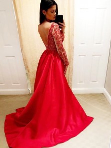 Luxurious A-Line V Neck Open Back Long Sleeve Red Satin Long Prom Dresses with Beading,Charming Evening Dresses