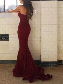 Sexy Mermaid Sweetheart Open Back Burgundy Floral Lace Long Prom Dresses,Evening Party Dresses