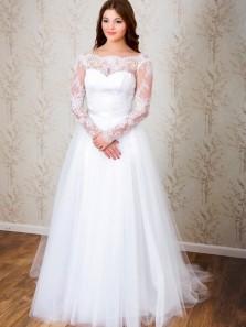 Classic Elegant A-line Long Sleeves White Lace Wedding Dress