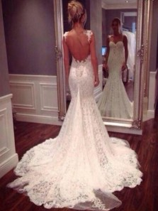 Luxurious Spaghetti Straps Backless Court Train Mermaid Wedding Dress with Appliques