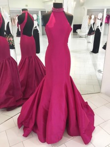 Classy Mermaid High Neck Open Back Hot Pink Satin Long Prom Dresses,Charming Formal Party Dresses
