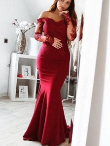 Modest Mermaid Off the Shoulder Open Back Burgundy Elastic Satin Long Prom Dresses with Lace,Evening party Dresses