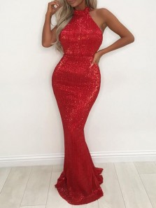 Sexy Mermaid Halter Open Back Red Sequins Long Prom Dresses,Evening Party Dresses