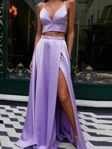 Chic Two Piece Sweetheart Lavender Satin Long Prom Dresses with Bow Back,Formal Party Dresses