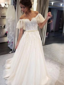 A-Line Off the Shoulder Open Back Ivory Tulle Wedding Dresses with Appliques,Beach Wedding Dresses
