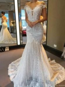 Unique Mermaid Off the Shoulder Ivory Lace Appliques Wedding Dresses 191103017