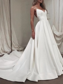 Simple A-Line V Neck Spaghetti Straps Open Back White Satin Long Wedding Dresses with Train,Prom Evening Party Dresses