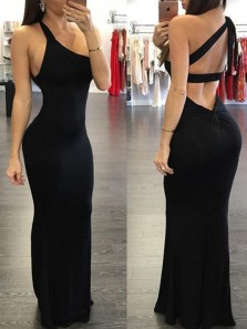 Sexy Mermaid One Shoulder Black Elastic Satin Long Prom Dresses,Simple Evening Party Dresses