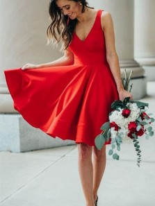Simple A-Line V Neck Open Back Red Satin Short Prom Dresses Under 100,Homecoming Dresses Cocktail Party Dresses with Pockets