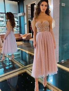 Beautiful A-Line Sweetheart Sparkly Pink Midi Homecoming Prom Dresses with Appliques