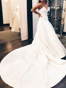 New arrival A-Line V Neck Strapless Satin Wedding Gowns with Pockets