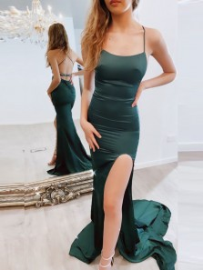 Sexy Mermaid Scoop Neck Cross Back Dark Green Satin Long Prom Evening Dresses with Split