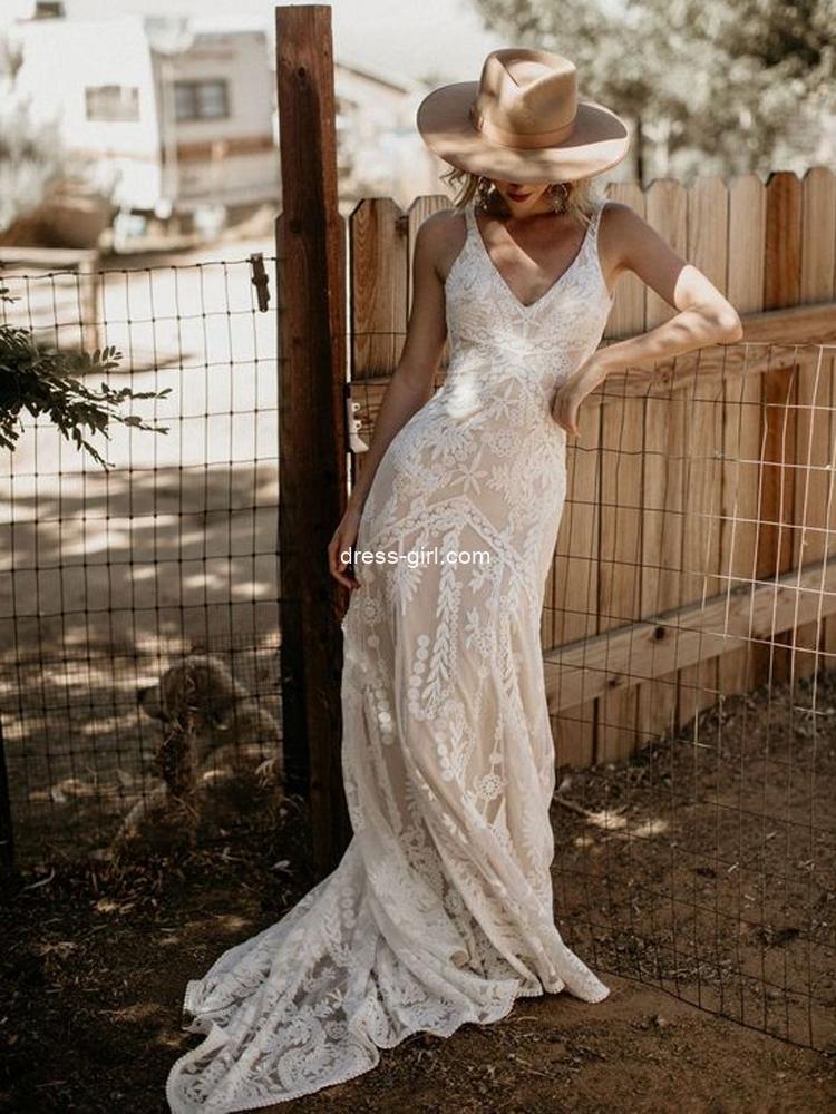 Elegant Mermaid V Neck Backless White Lace Wedding Dresses,Boho Wedding Gown