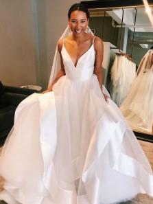 Charming A-Line V Neck Spaghetti Straps Open Back White Tulle Wedding Dresses