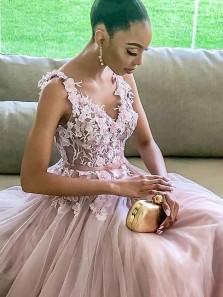 Elegant A-Line V Neck Open Back Pink Tulle Long Prom Evening Dress with Appliques
