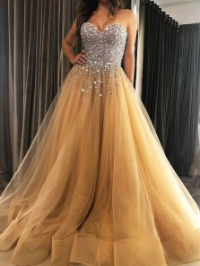 Marvelous Ball Gown Sweetheart Champagne Tulle Prom Evening Dresses with Beading,Formal Party Dresses