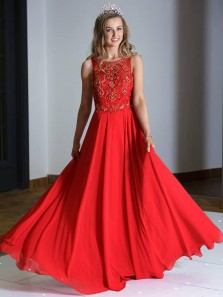 Beautiful A-Line Scoop Neck Red Chiffon Long Prom Dresses with Beading,Charming Evening Party Dresses