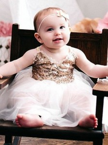 Pretty A-Line Straps White Tulle Flower Girl Dress with Lace Sequins