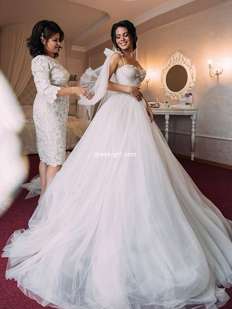 Princess A-Line Sweetheart Ivory Tulle Beaded Wedding Dress Bride Gown 2021