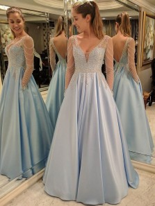 Charming Prom Dress, Long Sleeve Prom Dresses with Beaded, Sexy Long Evening Dress, V Neck Party Gown