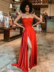 Charming A-Line Sweetheart Red Soft Satin Long Prom Dresses with High Slit,Evening Party Dresses 2020